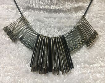 Edgy Safety Pin Statement Necklace