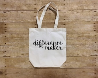 Teacher tote bag, Teacher gift, Coach gift, Gifts for teachers, Special Education teacher gift, Difference maker, Make a difference