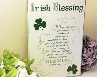 Handmade Irish Sign,Plaque, Traditional Irish Blessing, May God Always Grant You, A sunbeam to warm you etc...Made In Ireland.228