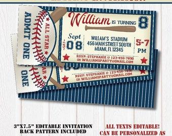 All Star Baseball Birthday Invitation-SELF-EDITING Baseball invitation-Baseball Party-Sport Birthday Party-First Birthday-Any Age-A137-B