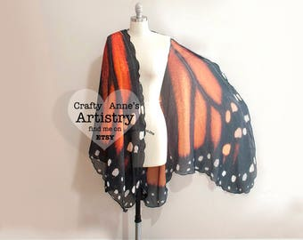 Large Monarch Butterfly Scarf or Cape, Fairy Wings, Butterfly Wrap Halloween Costume, Belly Dance Veil
