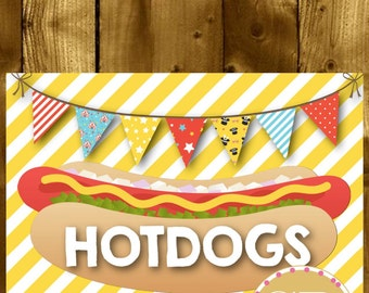 PRINTABLE // Carnival party sign // Carnival sign // Circus party sign // Circus sign // Circus party // Hot dogs sign // Food sign