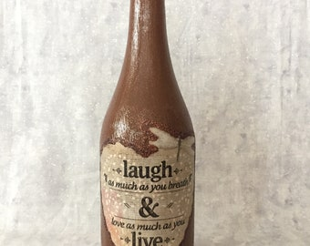Laugh and Live Wine Bottle