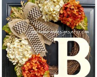 FALL Wreaths, Fall Door Decor, Autumn Wreath, Hydrangea Wreath for Door, Holiday Home Decor, Wreath for FALL