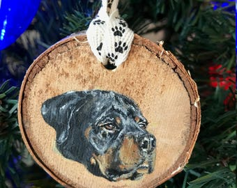 Hand Painted Rottweiler Ornament