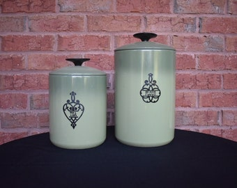 Vintage Set of Two Westbend Green 1950's Cannisters