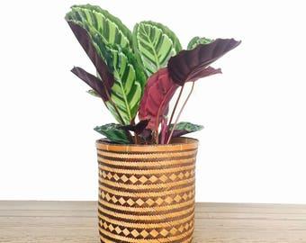 Vintage Large Two Tone Plant Basket
