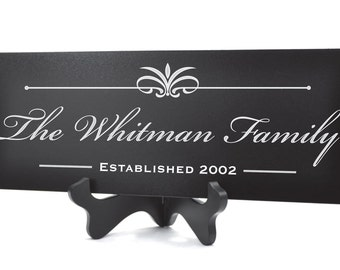 Personalized Family Name Sign Plaque Established Sign Last Name Sign 8x24 Carved Engraved