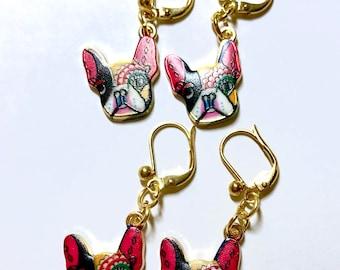 Bulldog Earrings, French Bulldogs, Frenchie Gift, Dog Lover Earrings, Dog Lovers Gift, Frenchie Jewellery, Frenchie Earrings, For Her