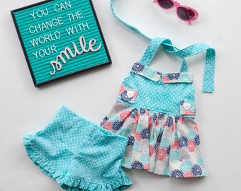 Halter Top with Shorts, Aqua and Coral Outfit, Tunic, Summer Outfit, Toddler Outfit, Little Girl Outfit, Baby Girl Outfit, Beach Clothes