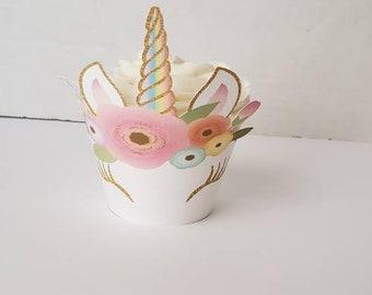 Unicorns cupcakes wrappers. Standard cupcakes wrappers. Floral Unicorn Cupcakes wrappers. Flowers unicorn cupcakes.