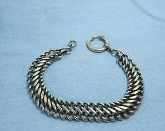 Antique Albert Pocket Watch Chain Link French White Metal Plated