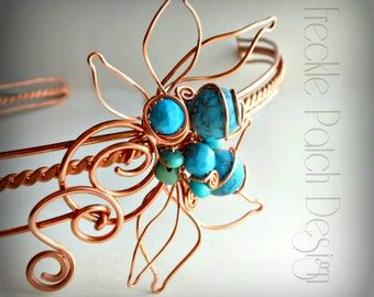 Copper and Turquoise Hand Formed Headband,  SAMPLE Photo,  Made to order