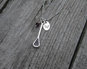 Lacrosse Necklace Sterling Silver Necklace Personalized Jewelry Hand Stamped Initial Coach Gift Lacrosse Team Lacrosse Jewelry Lacrosse Gift