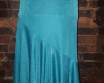 Ladies Size UK 8 1970's Vintage Retro Blue Green Swing Ruffle Midi Skirt