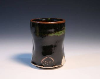 Black And Green Whiskey Sipper, Little Shot Glass, Stoneware Cup