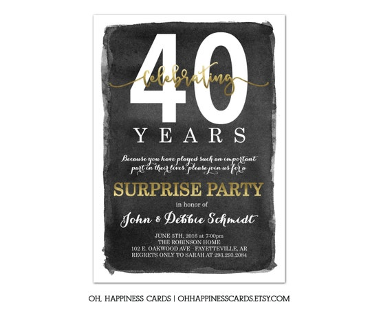 Anniversary party invitation surprise gold and black