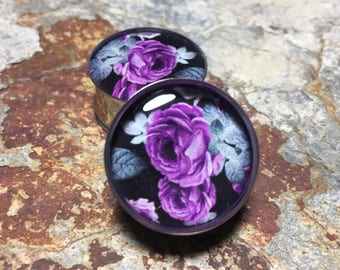 """Purple and Gray Floral Plugs, gauges  0g, 00g, 7/16, 1/2, 9/16, 5/8, 3/4, 7/8, 1"""", 1 1/8, 1 1/4, 1 3/8, 1 1/2, 1 5/8, 1 3/4, 1 7/8, 2"""""""