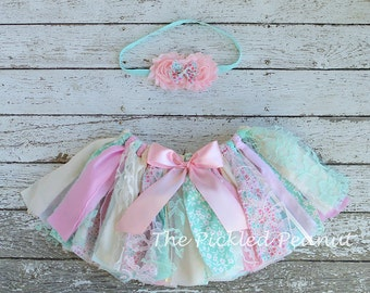 Pink Mint Aqua Baby Tutu & Baby Headband Baby Tutu Baby Skirt 1st Birthday Skirt Baby Girl Birthday Toddler Skirt Toddler Tutu Fabric Tutu
