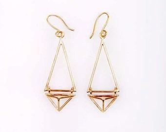 Geometric triangle earrings from brass