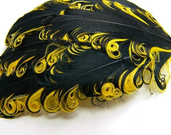 BLACK AND YELLOW Curly Feather Pads, Nagorie Feathers