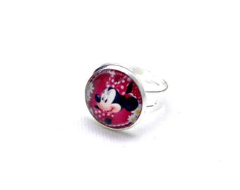 Cute glass cabochon ring, pink