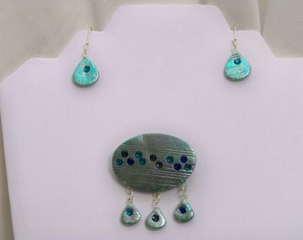 OOAK polymer clay brooch and earring set with crystals
