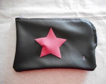 "Black Star ""surprise"" flat clutch pink"