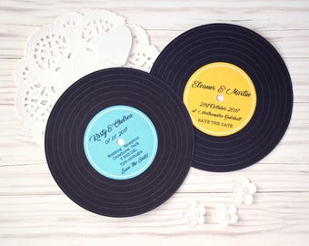 Vintage Retro Music Record Save the Date Cards w/envelopes