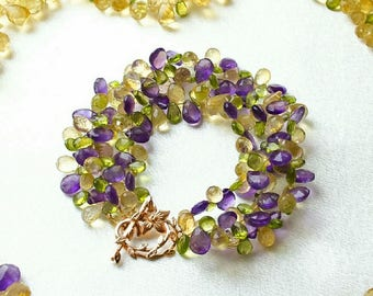 """Bracelet of citrine, peridot and amethyst, """"Time to Love"""""""