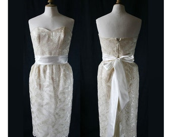 Vintage corset dress, french lace, short wedding dress
