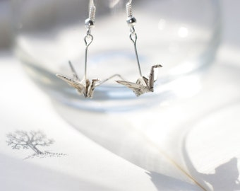 Book Lover Gift. Origami Crane Earrings.Literary Gift.First Anniversary Gift.Origami Jewellery.Origami Gift.Mothers Day Gift.Mothers Day