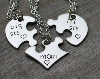 Mother's Day - Gift for Mom - Puzzle Heart Necklaces - Big Sis, Lil Sis, Mom - Gift for Mother's Day
