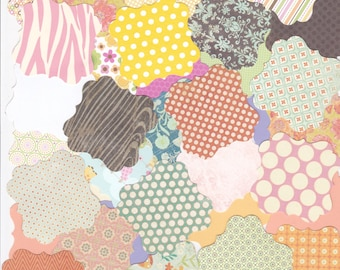 50 hand punched FANCY SQUARES in various colors colours decorative papers and cardstock