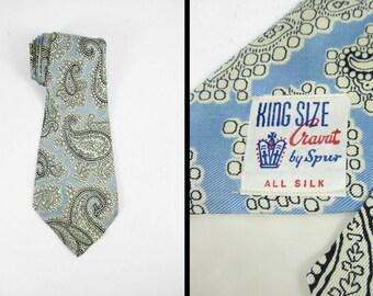 Vintage 50s Paisley Silk Tie Wide Amoeba King Size Cravat Spur Blue Necktie
