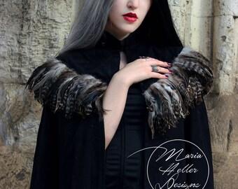Wool Cape, Long Black Coat, Feather Cape, Wool Coat, Long Cape, Black Cape, Faux Fur Cape, Faux Fur Coat, Gothic Cape, Gothic Coat, Capelet