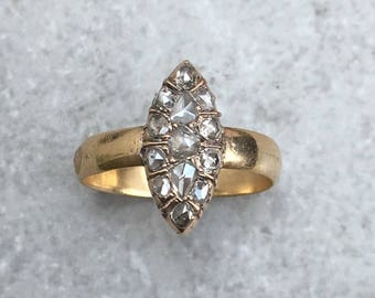 Antique Victorian Navette Gold and Rosecut Diamond Ring - size US 6,5 / UK N (sizeable)