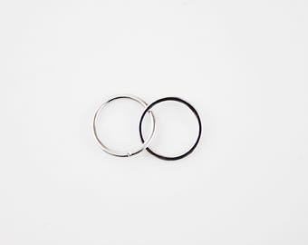 Silver Plated Two Circle Charm Supply for Making Jewelry 2 Pcs / SC-8