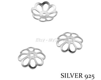 8.5 mm - 2 or 10 flowers bead caps - Silver 925 bead caps