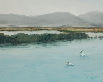 Two Pelicans on Bear Lake-  Original oil painting on canvas by Lauriann Wakefield