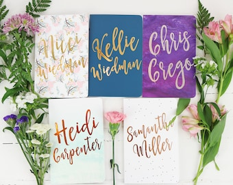 Personalized Journals, Bridesmaid Gift, Floral Wedding, Custom Notebook, Personalized Gift for Women, Gold, Co Worker Gift, Mother's Day