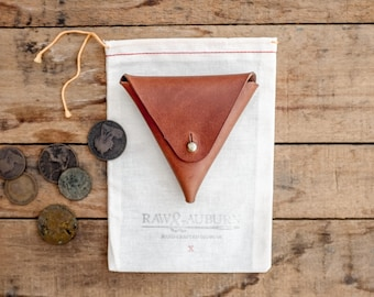 Triangle Coin Pocket / Leather / Wallet / Purse / Walnut