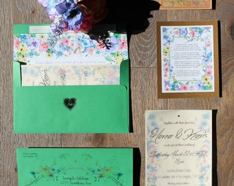 Custom Wedding Invitation Design and Assembly