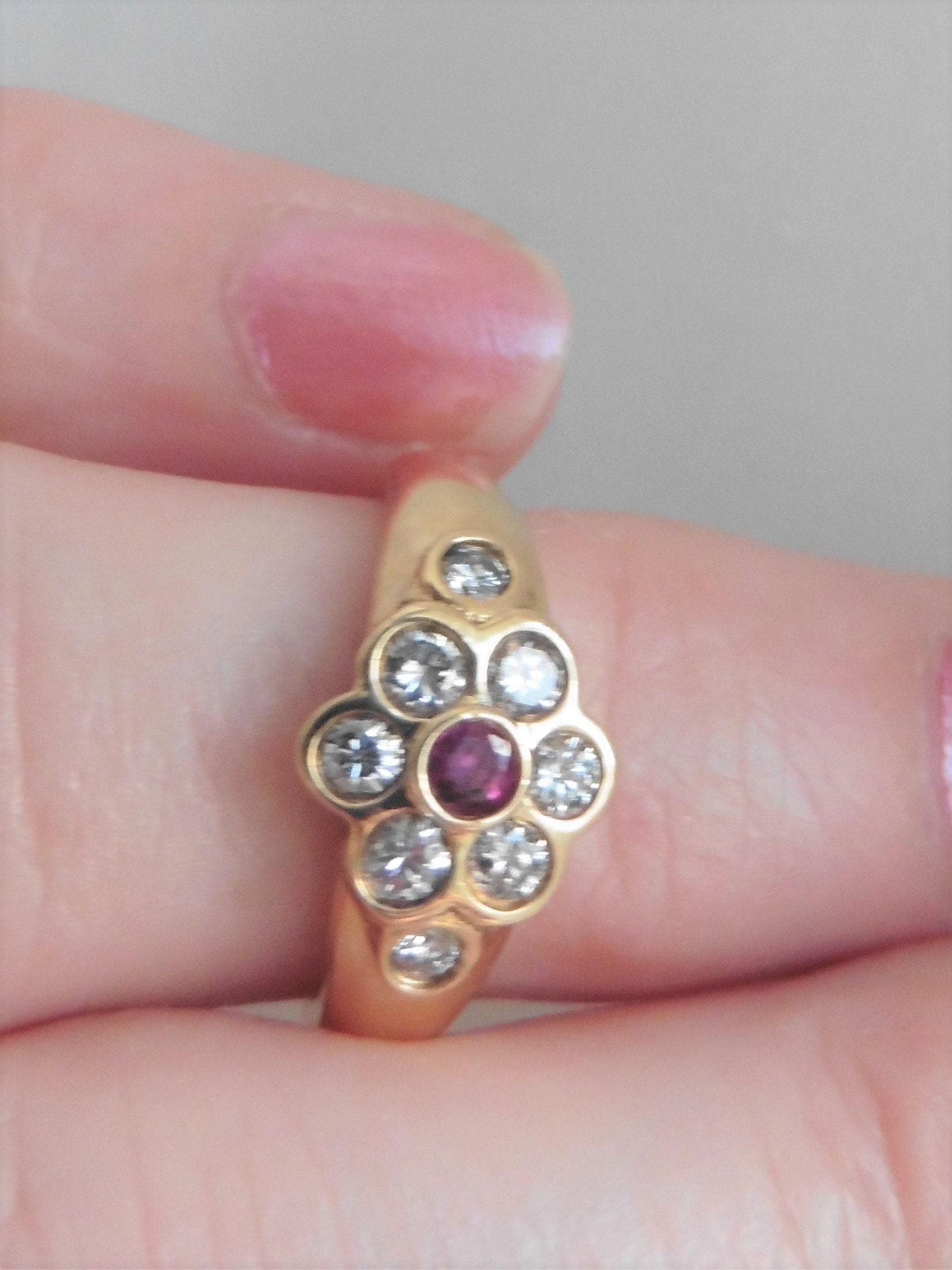 Vintage Diamond And Ruby Quality Flower Ring. 18ct. Diamond
