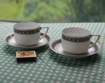 Set of 2 Tea Cups and Saucers. Vintage