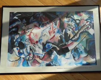 Wassily Kandisky Composition No. 6.,  1913  Large Poster Sized Lithographic Print preserved in a  Black Metal Frame in Very Good Condition