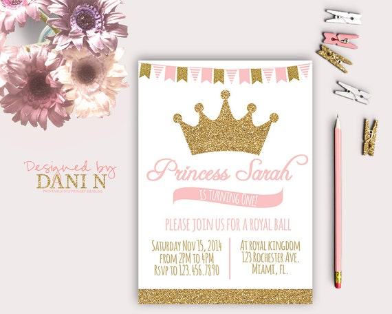 Princess birthday party invitation glitter sparkle printable filmwisefo Image collections