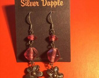 Pink dangle flower earrings