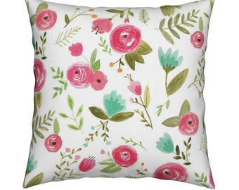 Pillow  Happy Floral.Home Decor. Living Room Decor. Modern Decor. Floral Pillow. Nursery Pillow