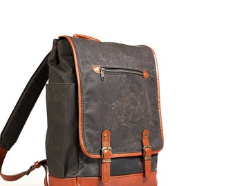 Casual backpack. Waxed canvas day bag. Women canvas leather backpack  15 inch laptop canvas backpack Waxed canvas backpack Waxed canvas bag.